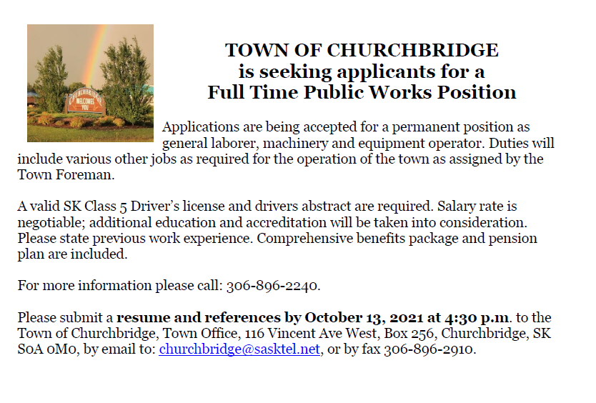 Employment Opportunity – Public Works